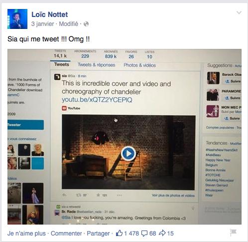 Post de Loïc Nottet sur son compte Facebook avec capture d'écran du tweet de Sia